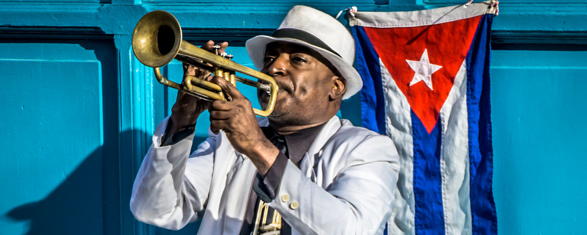 Cuban street musician during Havana Jazz Festival