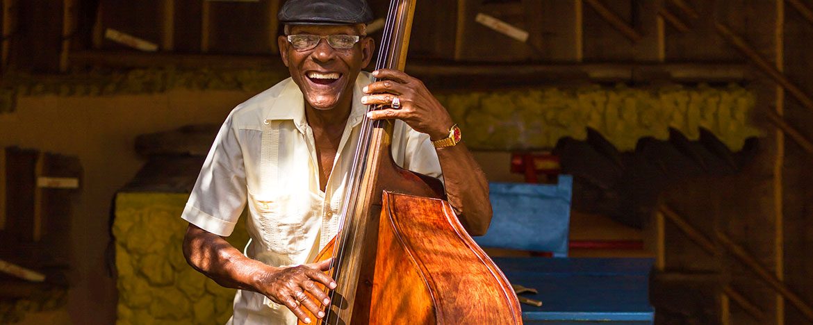 Bass musician during Havana Jazz Festival